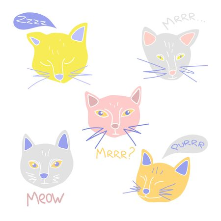 Hand drawn vector illustrations of cute cats head. Meowing and purring cat collection. Flat style.