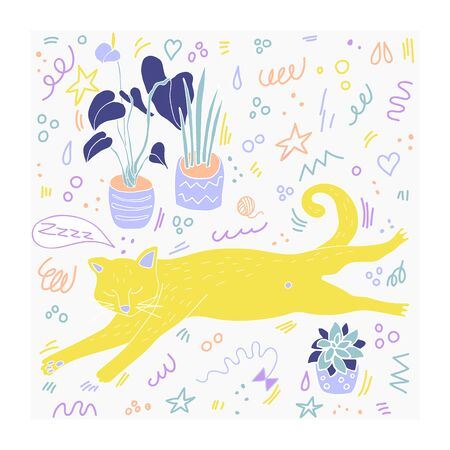 Hand drawn cat flat vector illustration. Flat style. Doodle  with  cute and playful kitten with interior houseplants clipart. Isolated cartoon character