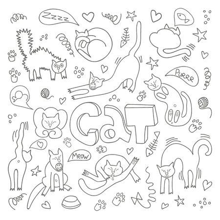 Illustrazioni vettoriali disegnate a mano di personaggi di gatti. Stile piatto. Scarabocchio con scritta Cat
