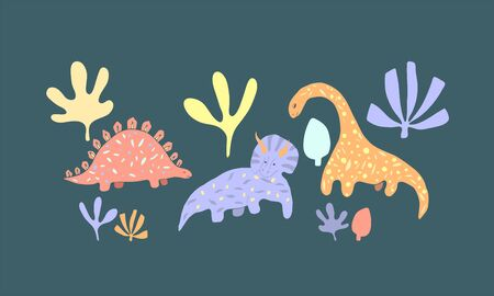 Dinosaur cartoon vector set. Dino flat handdrawn clipart. Prehistoric animals. Isolated cartoon illustration for kids game, book, t-shirt
