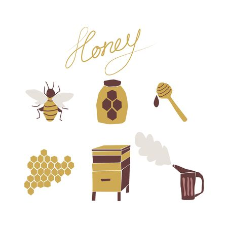 Beekeping hand drawn cartoon collection. Flat illustration of a beehive, apiary, honeycombs, bee, honey jar, smoker Ilustracja
