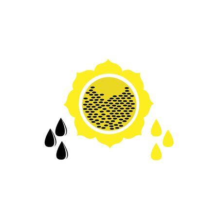 Sunflower oil icon. Flat vector illustration of seeds, plants and a drop of oil. Ilustração