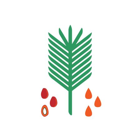 Palm oil icon. Flat vector illustration of seeds, plants and a drop of oil.