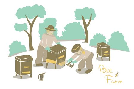 Beekeepers at the apiary keeps honeycombs. Cartoon flat vector illustration. Hand drawn set.