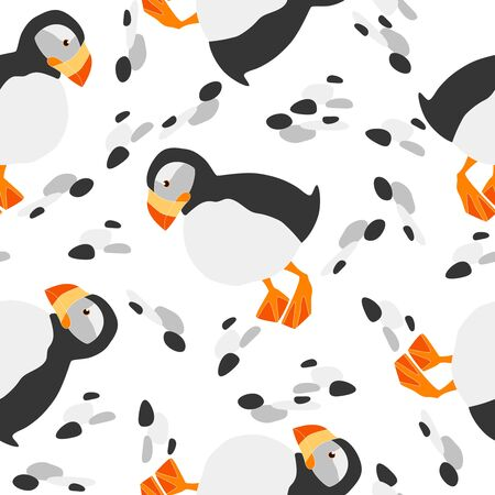 Seamless pattern with cute sea birds. Cartoon characters illustration. For textile, wallpaper, wrapping.