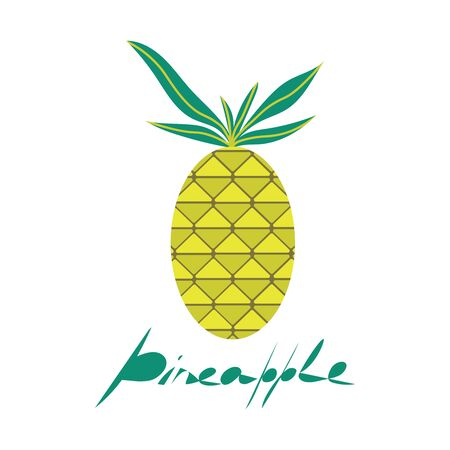 vector flat pineapple with lettering. cartoon fruit illustration