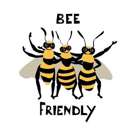 Cute bees charaters with lettering. Cartoon hand drawn insect in flat style with inscription Bee Friendly