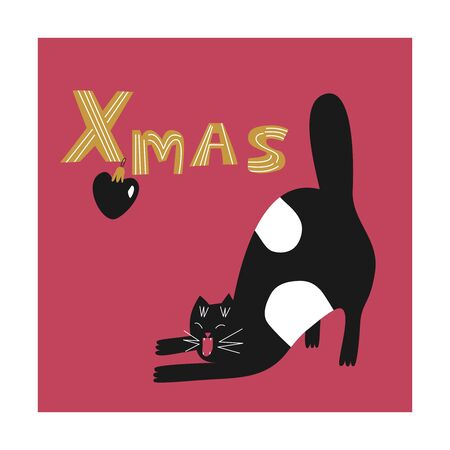 Cute fat cat is stretching. Flat christmas illustration. Cartoon cat great for greeting card, poster, invitation, sticker.