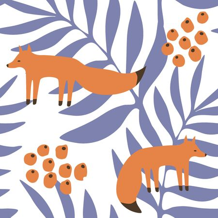 Seamless pattern with foxes, berries and branches in scandinavian style. Great for fabric, textile. Vector background