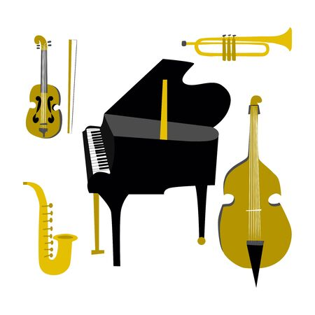 Musical instruments collection. Flat vector illustration of classical instruments - violin, cello, piano, saxophone, trumpet Illustration