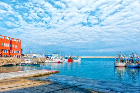 View of the italian old port city Monopoli - Italy, Puglia. Adriatic sea