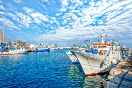 Boat moored at Monopoli port - Italy, Puglia. Adriatic sea 스톡 콘텐츠