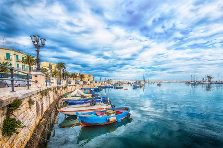 Boat moored at Bari port, Puglia, South Italy Stock Photo