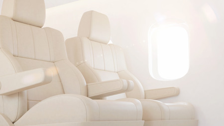 first plane: Airplane interior with sun light. 3D rendering