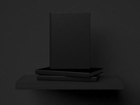 Three blank books on a shelf. 3d rendering photo