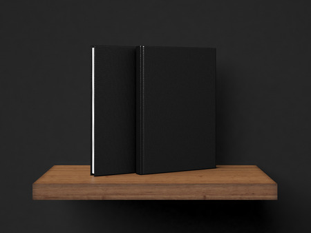 Two blank book on a brown shelf. 3d rendering photo
