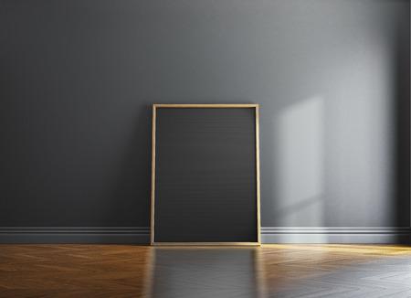 벽에 빈 나무 그림 프레임과 햇빛. 3d 렌더링