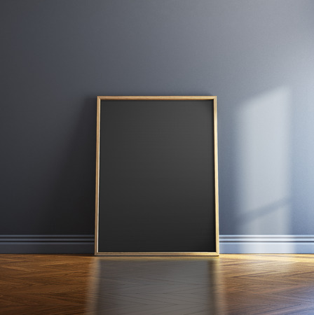 mockup: Blank picture frame and sunlight on a wall. 3d rendering