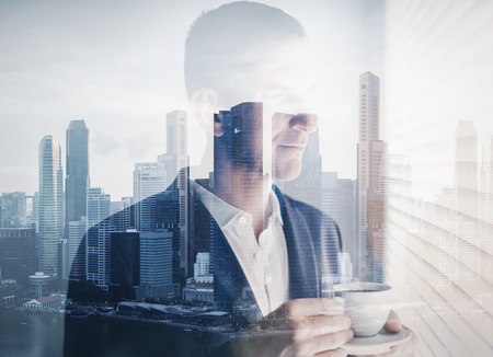 double exposure of young businessman Stockfoto