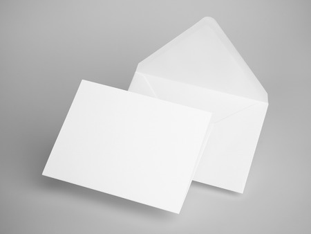 stack of business cards: White envelope letters. 3d rendering
