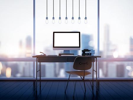 Mock up of generic design computer screen on workspace. 3D rendering photo