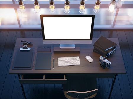 Mock up of modern workspace. 3D rendering photo