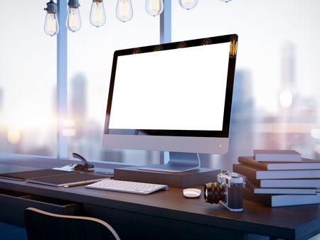 ジェネリック デザイン コンピューター画面と blured 都市のモックアップを作成します。3 D レンダリング