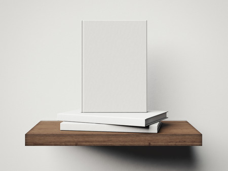 Four white books on a brown shelf. 3d rendering Фото со стока