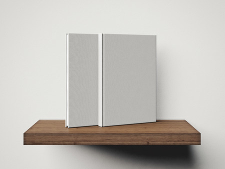 book shelves: Two white book on a brown shelf. 3d rendering