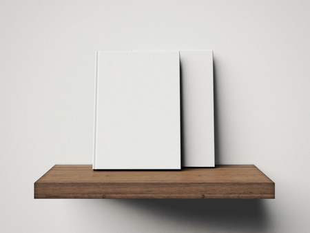 Some white books on a brown shelf. 3d rendering photo