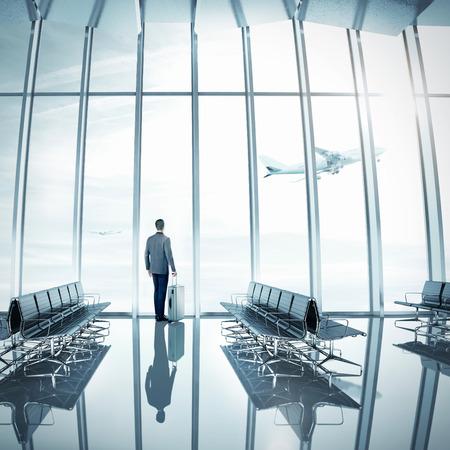 shiny floor: Businessman at airport Stock Photo