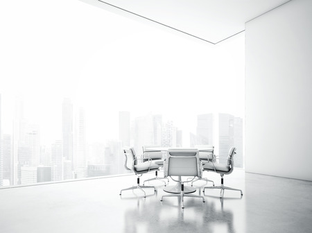 glass ceiling: White interior with large windows. 3D rendering
