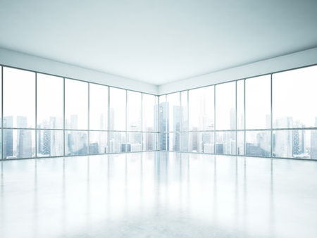 white  background: Empty office interior. 3d render Stock Photo