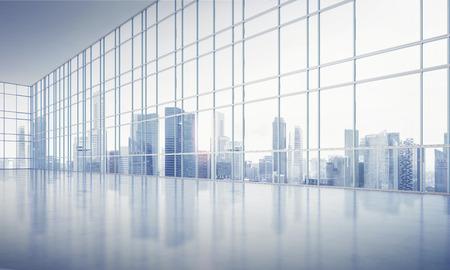Wit interieur met grote ramen. 3D-rendering Stockfoto