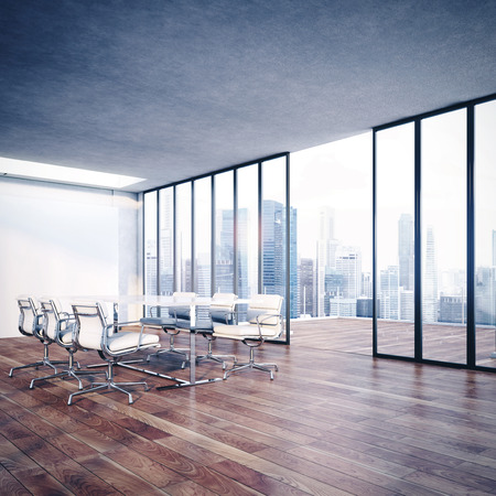 perspectives: White office interior. 3D rendering