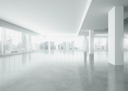 Intérieur blanc avec de grandes fenêtres. Rendu 3D