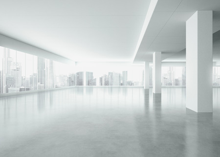 empty warehouse: White interior with large windows. 3D rendering