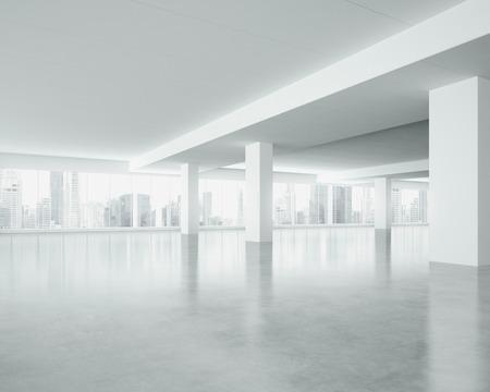 대형 창문 화이트 인테리어. 3D 렌더링 스톡 콘텐츠
