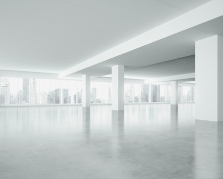 perspective room: White interior with large windows. 3D rendering