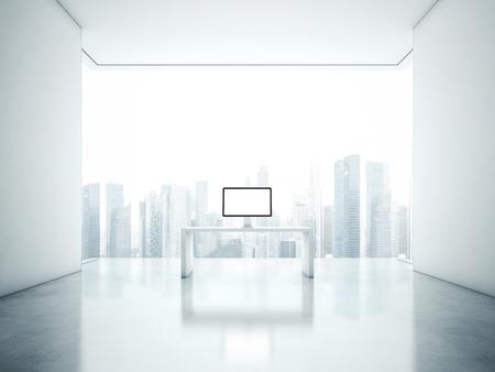 white office: White office interior. 3D rendering