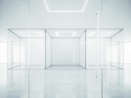 Bianco ufficio interno. Rendering 3D Archivio Fotografico - 40130275