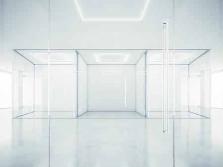 Interior de la oficina blanca. Representación 3D