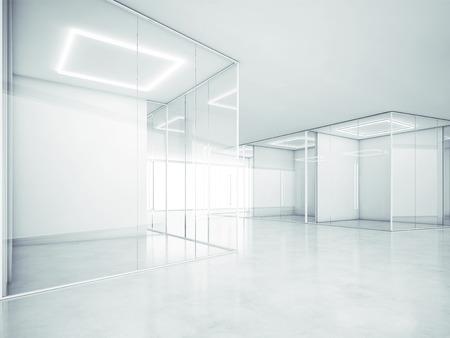 ホワイト オフィスのインテリア。3 D レンダリング