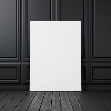 Blank canvas on a wall. 3D rendering 스톡 콘텐츠