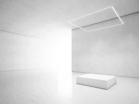 spotlight white background: Clear interior with podium. 3D rendering