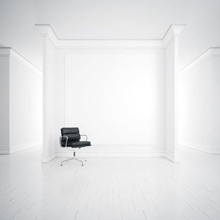 empty chair: White interior with armchair and blank poster