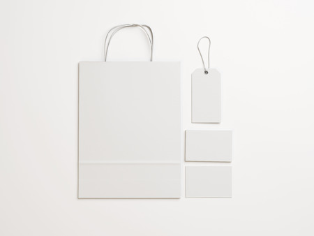 paper bags: Set of blank identity elements. 3D rendering