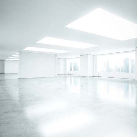 白いオフィスのインテリア。3 D レンダリング