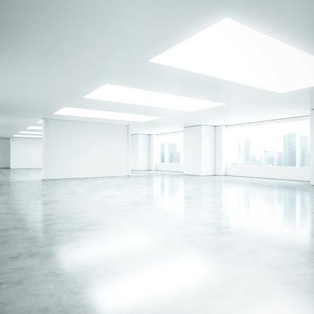 case moderne: Bianco ufficio interno. Rendering 3D Archivio Fotografico