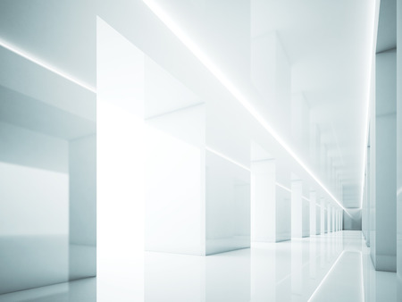 white interior: Hallway in white interior. Lights and space. 3d render